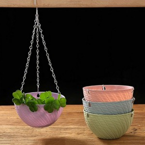 Round Hanging Basket Chain Flower Pot