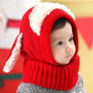 Rabbit Knitted Ear Hooded Scarf