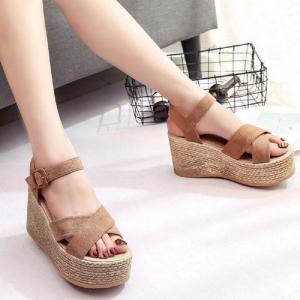 Cross Buckle Wedge Sandals