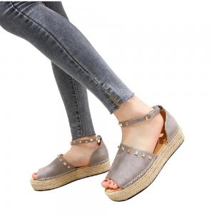Open Toe Rivet Platform Sandals