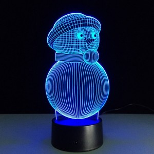 Snowman 3D Optical Illusion Lamp